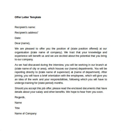 sample offer letter templates   examples format
