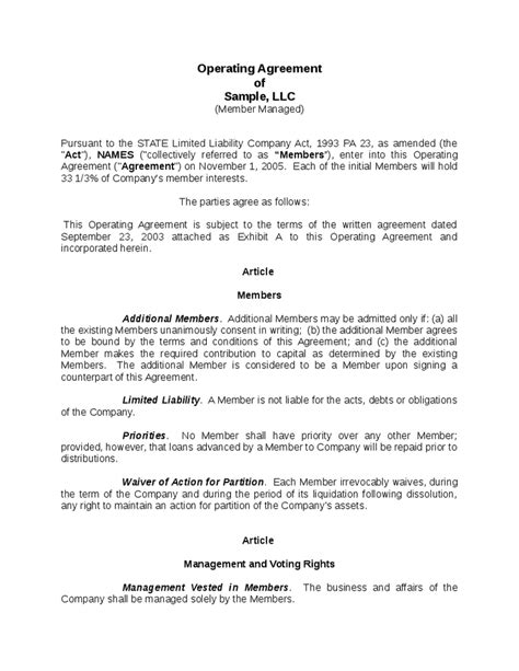 operating agreement sample emmamcintyrephotographycom