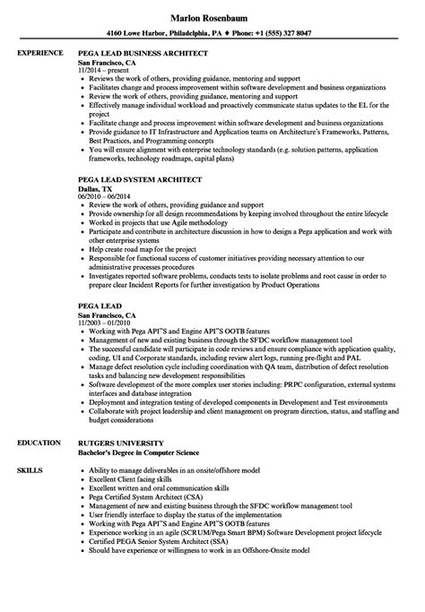 Updated Resume Sle by Pega Lead Business Architect Works Best Architects