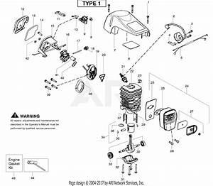 Poulan P4018avbh Gas Chain Saw Parts Diagram For Engine Type 1