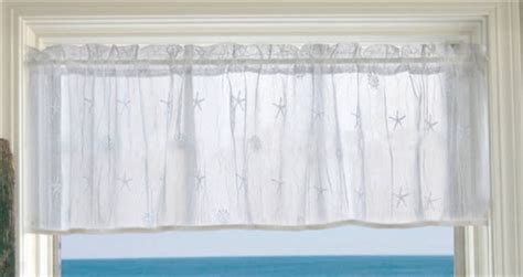 cottage coastal decor lace curtain valance no trim