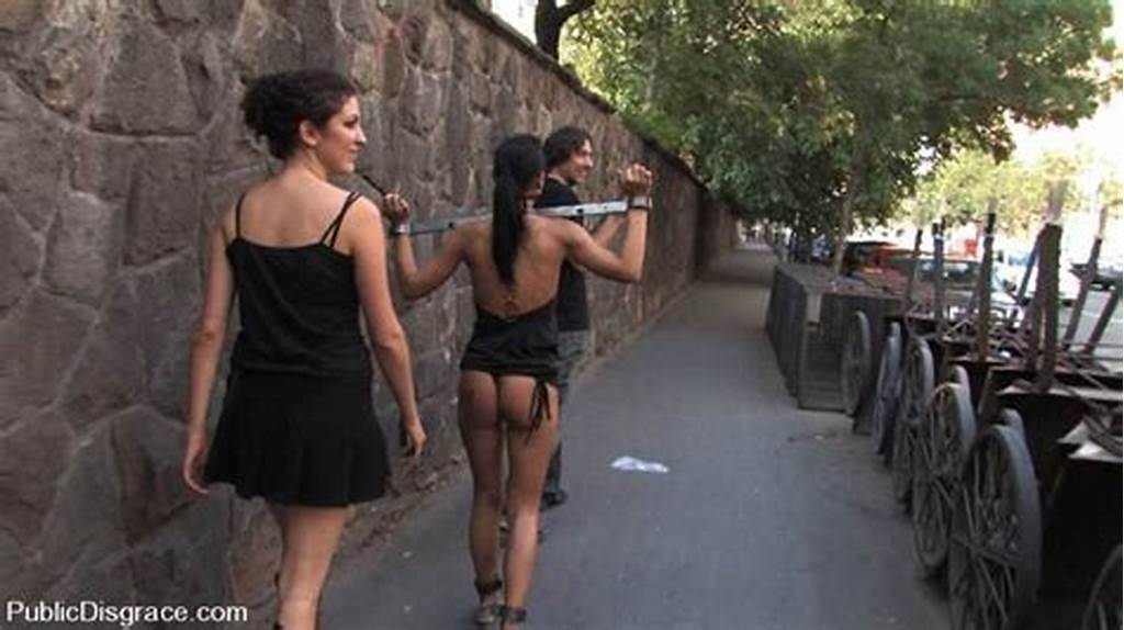 #Dark #Haired #Lass #Excited #In #Bondage #And #Fucked #In #Public
