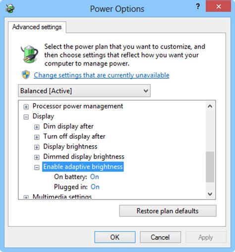auto brightness turn adaptive brightness on or in windows 8 via cp