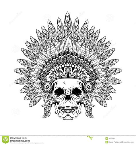 hand drawn skull  zentangle feathered war bonnet high dataile stock vector image