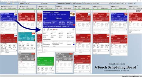henning industrial softwares touch scheduling board