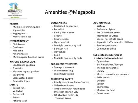 list of amenities megapolis pune top 100 residential projects in india