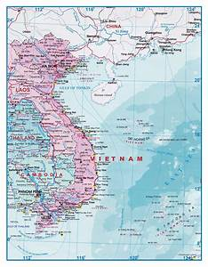 Large detailed tourist map of Vietnam and Laos | Vietnam ...