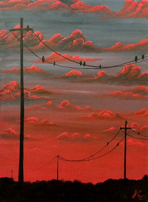 sunset  power lines   aesthetic painting