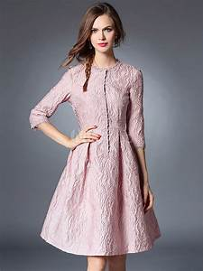 Hudson Bay Size Chart Pleated Skater Dress 3 4 Sleeve Jacquard Women 39 S Pink High