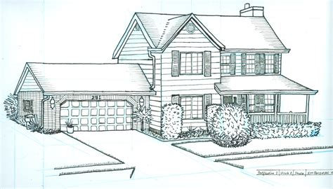 perspective drawing house home building plans