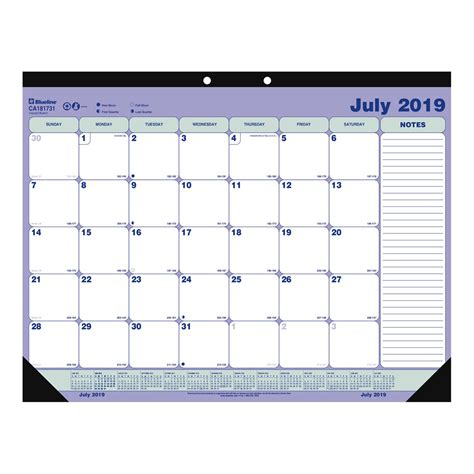 blueline academic monthly desk calendar pad july