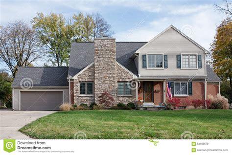 house  large stone fireplace chimney stock image image