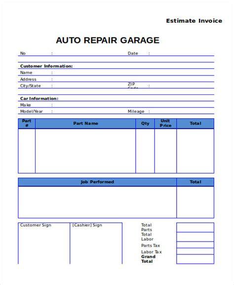 auto repair invoice template 7 auto repair invoice templates free sle exle format sle templates