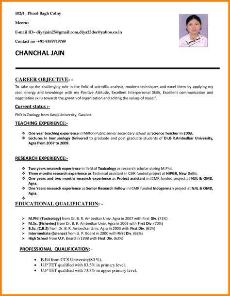 Cv Format For by 10 Cv Format Teachers Theorynpractice