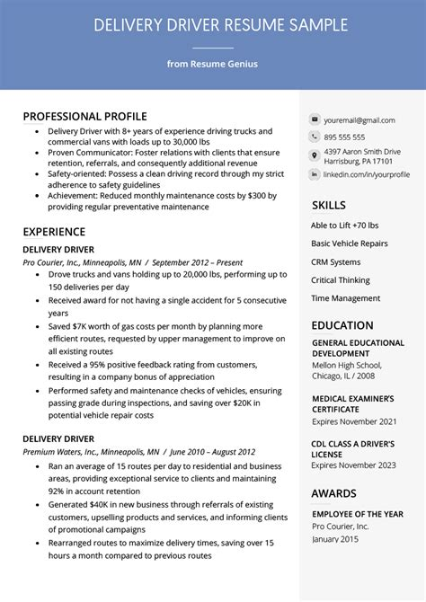 Delivery Driver Resume by Delivery Driver Resume Exle Writing Tips Resume Genius