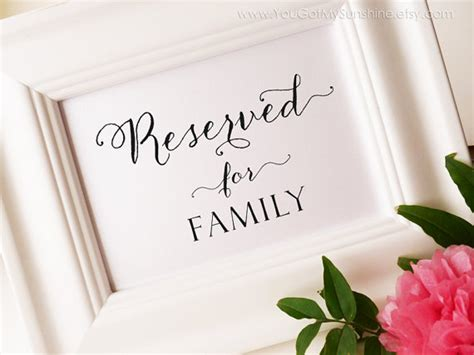 Reserved For Family, Printable Wedding Sign, Reserved Seating, Diy, Pdf, Instant Download, 4x6 Wedding Icons Tumblr Registry At Bed Bath And Beyond Ties Registries Uk Best Vows Linens Favor Bags Day Wishes