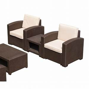 Outsunny 5 piece rattan style resin wicker outdoor for Garden furniture plastic rattan