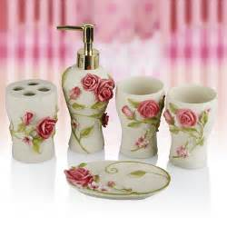 pink rose five pieces set of bathroom resin bathroom