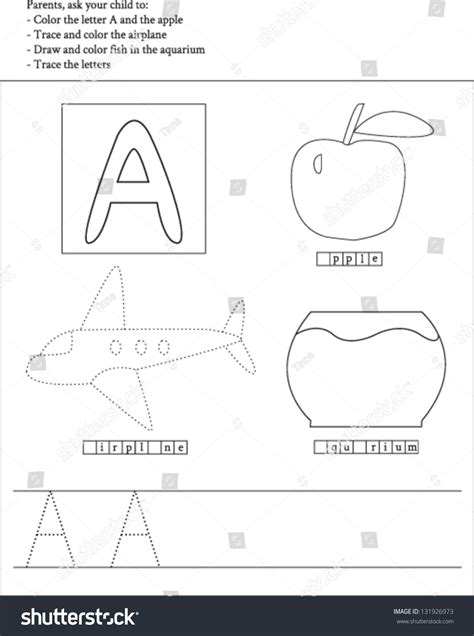 a and an worksheets for preschool trace color letter a worksheet preschoolers stock vector 702