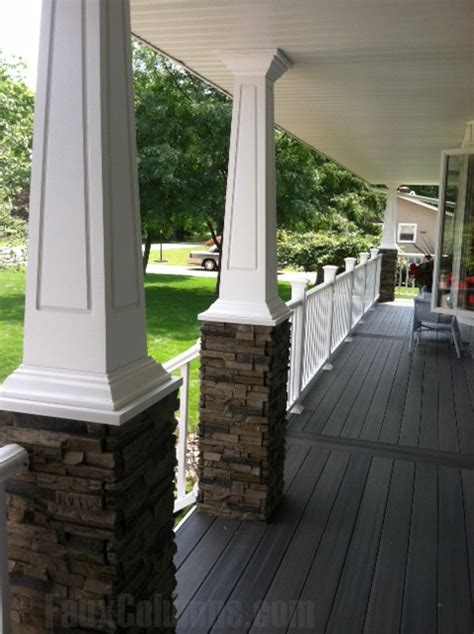 Rock Columns Porch by Faux Column Wraps For Added Style Creative Columns