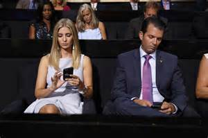 trump donald children ivanka jr campaign ap during republican clinton donors voters hopes woo presidential candidate phones second check confronto