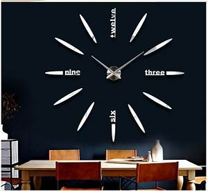 Large luxury diy 3d acrylic wall clock for home office for Diy 3d wall clock