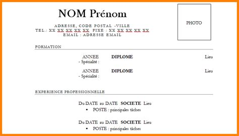Model De Cv En Francais Simple by Exemple Cv Simple Cv Francais Degisco