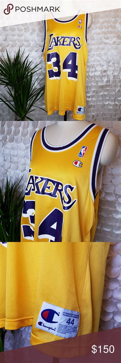 Rare O'Neal LAKERS Vtg Champion Jersey Yellow 44 | Clothes ...