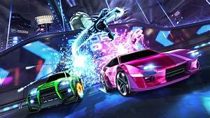 Rocket, League, Green, And, Pink, Vehicle, With, Lightning, Dragon