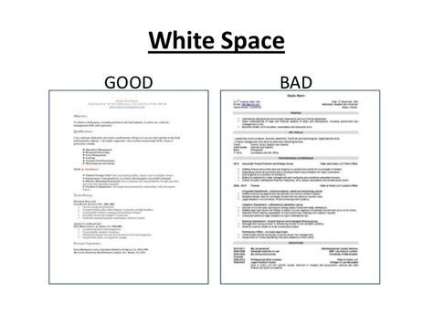 Resume White Space resume writing