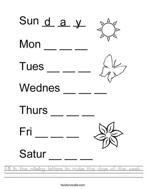 missing days of the week worksheets fill in the missing letters to make the days of the week