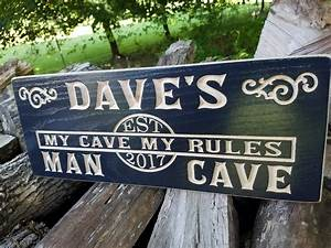 Personalized, Man, Cave, Sign, Wooden, Carved, Custom, Wood, Sign