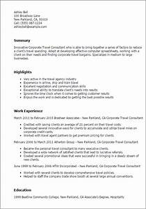 1 corporate travel consultant resume templates try them for Corporate travel agent resume
