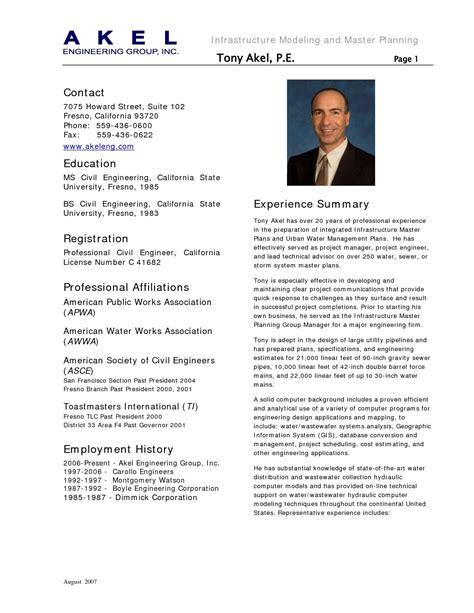 Professional Engineer Resume Format by Civil Engineering Resume Sle Gallery Photos New Sle