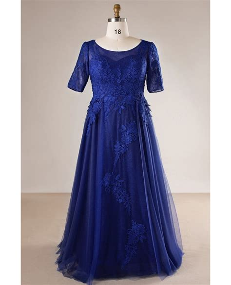 size royal blue long tulle  lace evening dress