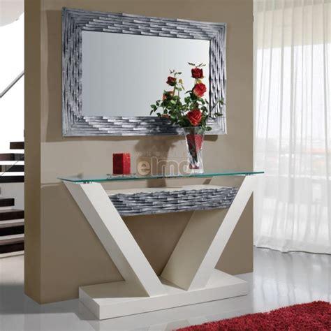table cuisine tiroir console entrée contemporaine avec miroir plateau verre dalhia