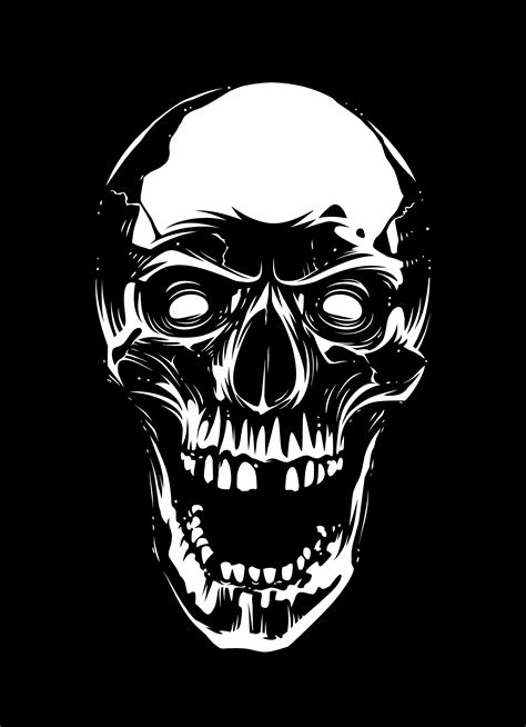 white skull  open mouth  black background