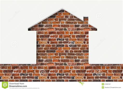 brick wall in house house shaped white wall with bricks behind royalty free stock photography image 21802187