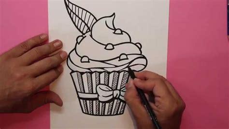 c 243 mo dibujar un cupcake 1 magdalena how to draw a cupcake