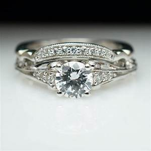 ornate vintage style diamond engagement ring matching With ornate wedding rings