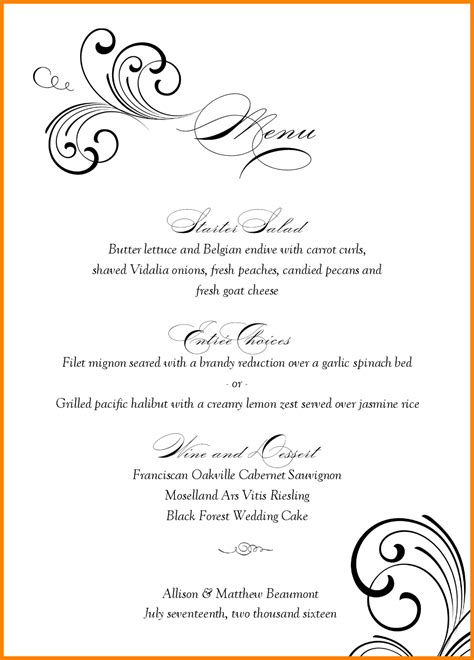 word templates free 5 wedding menu templates free microsoft word support our revolution