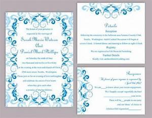 diy wedding invitation template set editable word file With wedding invitation designs aqua blue