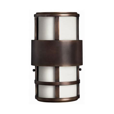 modern led outdoor wall light with white glass in metro bronze finish 1908mt led destination