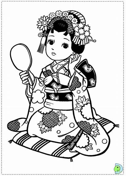 Coloring Japanese Dolls Pages Geisha Asian Colouring