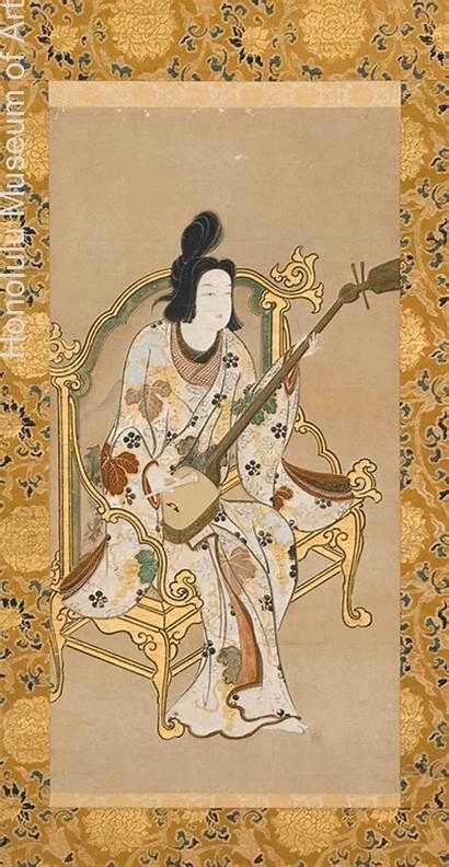 Edo Period Japanese Japan Painting Paintings Shamisen