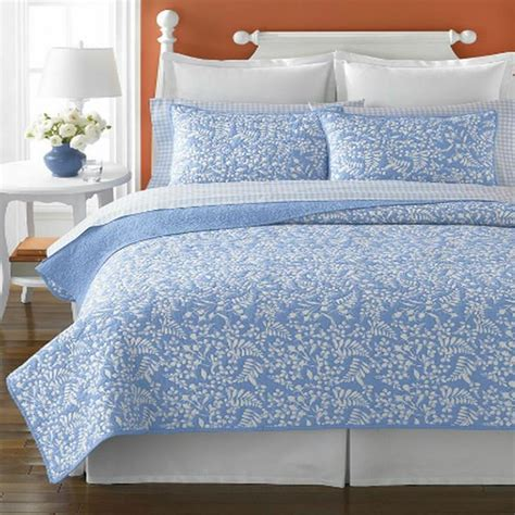 martha stewart quilts martha stewart aspendale full queen quilt blue new ebay