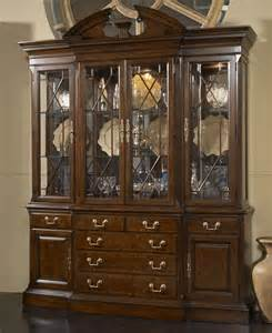 andover breakfront china cabinet with mirrored back panel