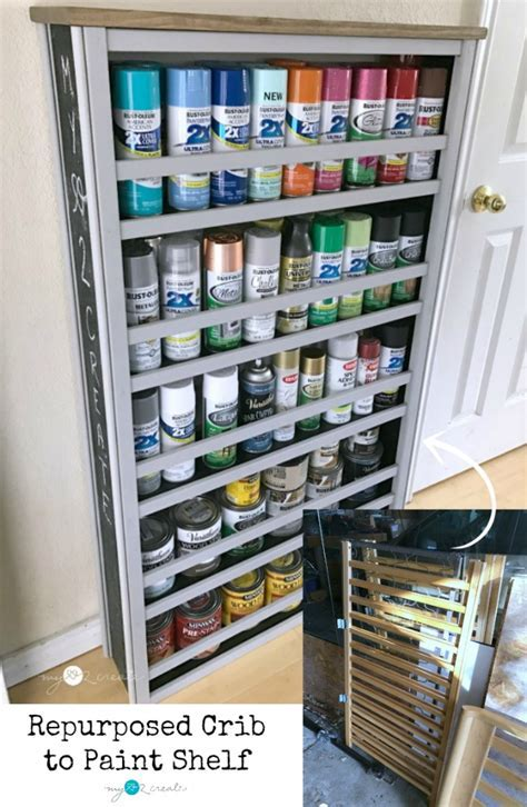Repurposed Crib Paint Shelf   BigDIYIdeas.com