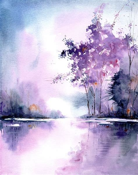 landscape art print  original watercolor painting