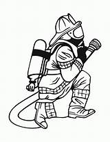 Coloring Pages Printable Fireman Firefighter Popular sketch template